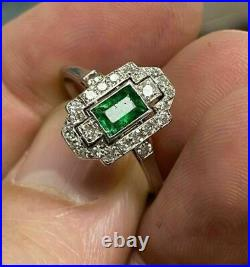 Vintage Art Deco Engagement & Wedding Ring 2.21 CT Emerald 14K White Gold Over