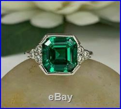 Vintage Art Deco Engagement Wedding Ring 4 Ct Asscher Cut Diamond 14K Gold Over