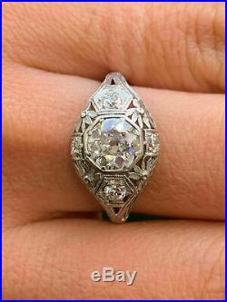 Vintage Art Deco Engagement Wedding Ring Fine 2 Ct Diamond 14K White Gold Finish