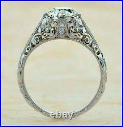 Vintage Art Deco Filigree Antique Wedding Ring 2.1Ct Diamond 14K White Gold Over