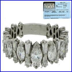 Vintage Art Deco Platinum 5.40ct Marquise Baguette Diamond Wedding Band Ring