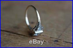 Vintage Art Deco Retro Engagement Wedding Ring 2 Ct Diamond 14k White Gold Over