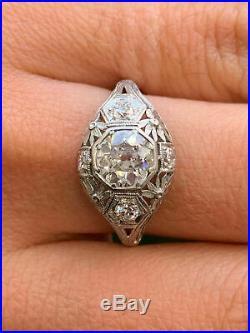 Vintage Art Deco Ring 14k White Gold Over Engagement & Wedding Ring 2Ct Diamond