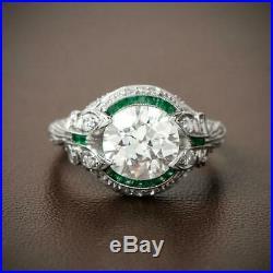 Vintage Art Deco Ring 2 Ct Round Diamond Engagement Wedding Ring 14k White Gold