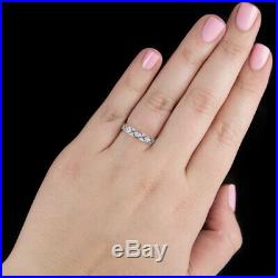 Vintage Art Deco Round Diamond Wedding Band Stackable Cocktail Ring Engraved