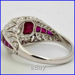 Vintage Art Deco Ruby 3.20 ct Round Cut Diamond Antique Engagement Wedding Ring