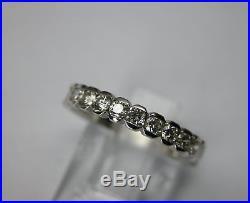 Vintage Art Deco Style Platinum Diamond Wedding Band Ring 0.66 Ctw