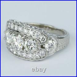 Vintage Art Deco Wedding & Engagement Ring 14k White Gold Over 3Ct Round Diamond