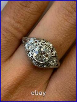 Vintage Art Deco Wedding Filigree Antique Ring 14K White Gold Over 2 Ct Diamond