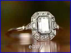 Vintage Art Deco White 3.20 ct Diamond Antique Engagement Wedding Jewelry Ring