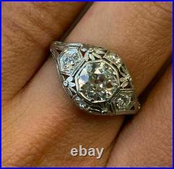 Vintage Art Retro Engagement & Wedding Ring 2.31 Ct Diamond 14K White Gold Over
