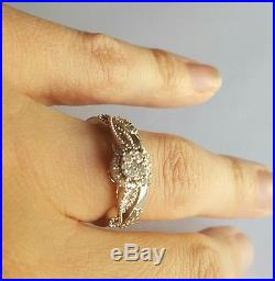 Vintage Diamond 14k White Gold Engagement Wedding Ring Band Set Size 5.5
