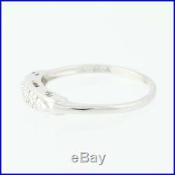 Vintage Diamond Accented Wedding Band 14k White Gold Ring Women's