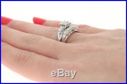 Vintage Diamond Engagement Ring & Wedding Band 14k Gold Round. 45ctw