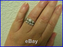 Vintage Diamond Engagement Wedding Set Bands Rings, 14k White Gold, 5 Grams, 6
