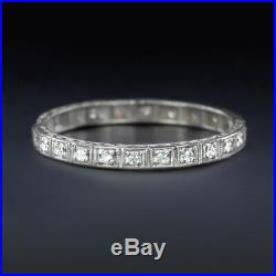Vintage Diamond Platinum Eternity Ring Wedding Band Engraved Art Deco Antique