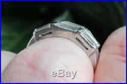 Vintage Diamond Platinum Wedding Ring Anniversary Bands Guard Wraps Antique
