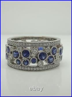 Vintage Diamond and Sapphire Eternity Wedding Band Ring 14k White Gold Finish