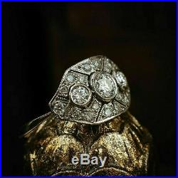 Vintage Edwardian Art Deco Engagement Wedding Ring 2.50 Ct Diamond 14k Gold Over