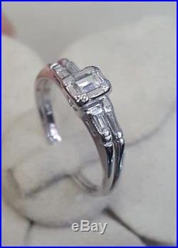 Vintage Emerald Cut Diamond Engagement Ring & Wedding Band Set 14K Gold Sz 7.5