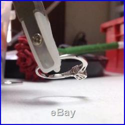Vintage Emerald Cut Diamond Engagement Ring Wedding Band Set 14K White Gold 8.5