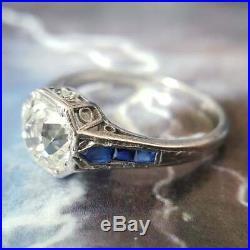 Vintage Engagement Ring 2 Ct Diamond & Sapphire Wedding Ring 14k White Gold Over