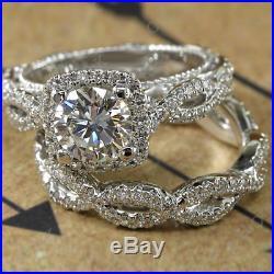 Vintage Engagement Ring Bridal Set 14k White Gold Finish 5Ct Round Cut Diamond