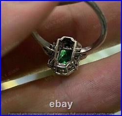 Vintage Engagement Wedding Antique Ring 2.8 Ct Emerald 14K White Gold Over