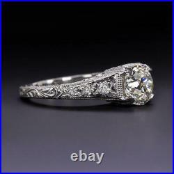 Vintage Engagement & Wedding Ring Filigree 2Ct Round Diamond 14k White Gold Over