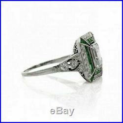 Vintage Engagement Wedding Ring Green Sapphire 14K Gold Over 2Ct Emerald Diamond