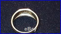 Vintage Estate10k Gold Genuine Natural Diamond Men's Wedding Band Ring Art Deco