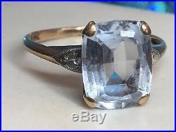 Vintage Estate 10k Gold Aquamarine & Diamond Ring Engagement Wedding Gemstone