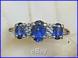 Vintage Estate 10k Gold Blue Sapphire & Diamond Ring Band Wedding Signed Thl