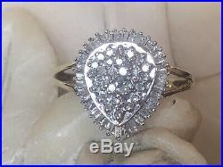 Vintage Estate 10k Gold Diamond Ring Engagement Wedding Signed Teardrop Cluster