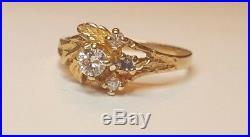 Vintage Estate 10k Gold Genuine Diamond Engagement Wedding Ring Flower Signed Pc