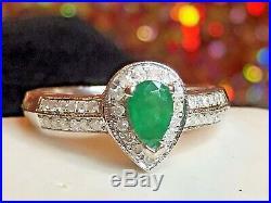 Vintage Estate 10k Gold Natural Green Emerald & Diamond Ring Engagement