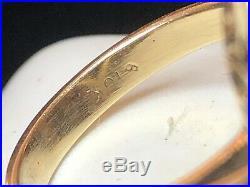 Vintage Estate 10k Gold Natural Opal Onyx Ring Engagement Navette Gemstone