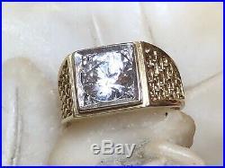Vintage Estate 10k Gold White Quartz Ring Men's Band Gemstone Wedding Anniversar