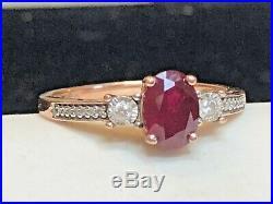Vintage Estate 10k Rose Gold Red Ruby Diamond Ring Engagement Wedding Signed