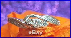 Vintage Estate 10k White Gold Genuine Diamond Ring Engagement Wedding 3 Diamonds
