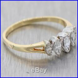Vintage Estate 14K Yellow Gold. 40ct Diamond Marquise Cut Wedding Band N8