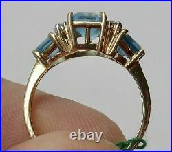 Vintage Estate 14K Yellow Gold Over Aquamarine & Diamond Engagement Ring 4.10 Ct