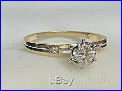 Vintage Estate 14k 2 Tone Gold Genuine Natural Diamond Ring Engagement Wedding