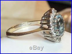 Vintage Estate 14k Gold Aquamarine Diamonds Ring Engagement Wedding Halo