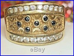 Vintage Estate 14k Gold Band Ring Italy Blue Sapphire Gemstone Wedding Quartz