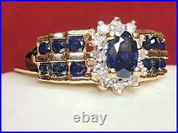 Vintage Estate 14k Gold Blue Sapphire Diamond Ring Engagement Wedding Appraisal
