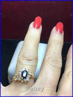 Vintage Estate 14k Gold Blue Sapphire Diamond Ring Engagement Wedding Halo Signe