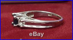 Vintage Estate 14k Gold Ceylon Blue Sapphire Diamond Ring Signed Fd Wedding