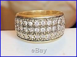 Vintage Estate 14k Gold Diamond Engagement Band Ring Anniversary Wedding 3 Rows