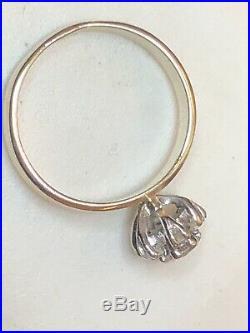 Vintage Estate 14k Gold Diamond Engagement Ring Band Halo Wedding Flower